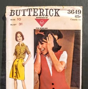 Vintage BUTTERICK #3649 Sewing Pattern/ UNCUT